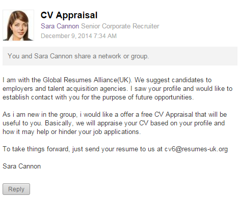 CV Appraisal LinkedIn Scam – Global Resumes Alliance(!) – Technical ...