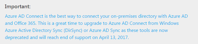 End of Support for legacy Azure sync products
